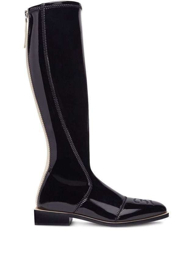Fendi patent knee-high boots - Black