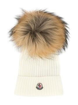 Moncler Kids classic knitted beanie hat - White