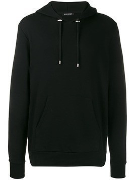 Balmain monogram logo hooded sweater - Black