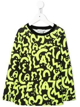 Stella McCartney Kids swiggle letters print top - Yellow