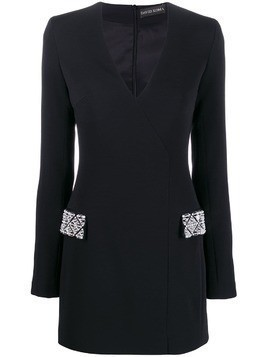 David Koma embellished pocket dress - Black