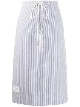 Thom Browne seersucker logo-patch skirt - Blue