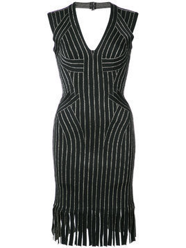 Hervé Léger fringed fitted dress - Black