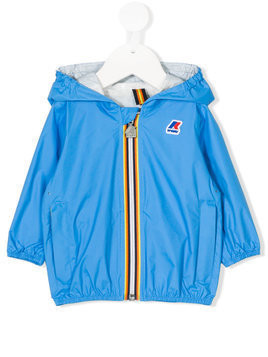 K Way Kids striped trim hooded jacket - Blue