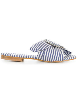 Emanuela Caruso striped mules - Blue