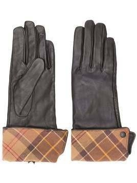 Barbour plaid-trim gloves - Brown