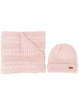 Barbour cable knit scarf set - PINK