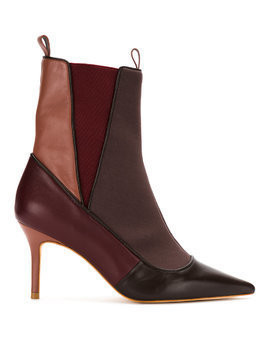 Sarah Chofakian panelled stiletto ankle boots - Red