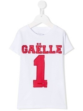 Gaelle Paris Kids mesh logo T-shirt - White