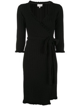 Milly ribbed knit short wrap dress - Black