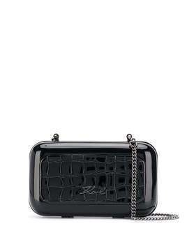 Karl Lagerfeld K/Signature croco minaudiere clutch bag - Black