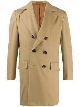 Kiton boxy fit double buttoned coat - NEUTRALS