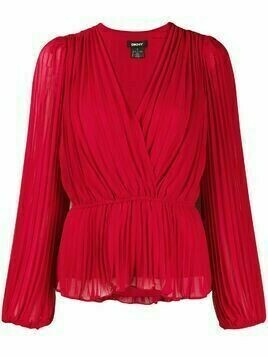 DKNY crossover-neck pleated blouse - Red