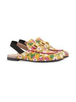 Gucci Kids Princetown slippers with mushroom print - Yellow