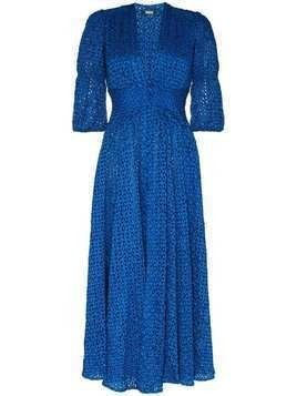 Cult Gaia Willow V-neck floral eyelet dress - Blue