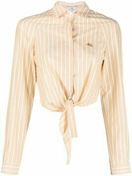 Etro stripe-print knotted shirt - Yellow