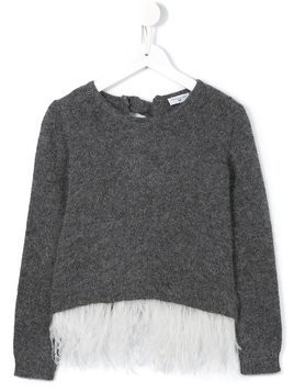 Monnalisa plumage hem jumper - Grey