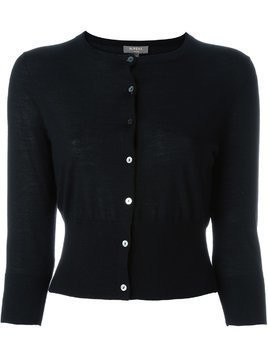 N.Peal cashmere superfine cropped cardigan - Black
