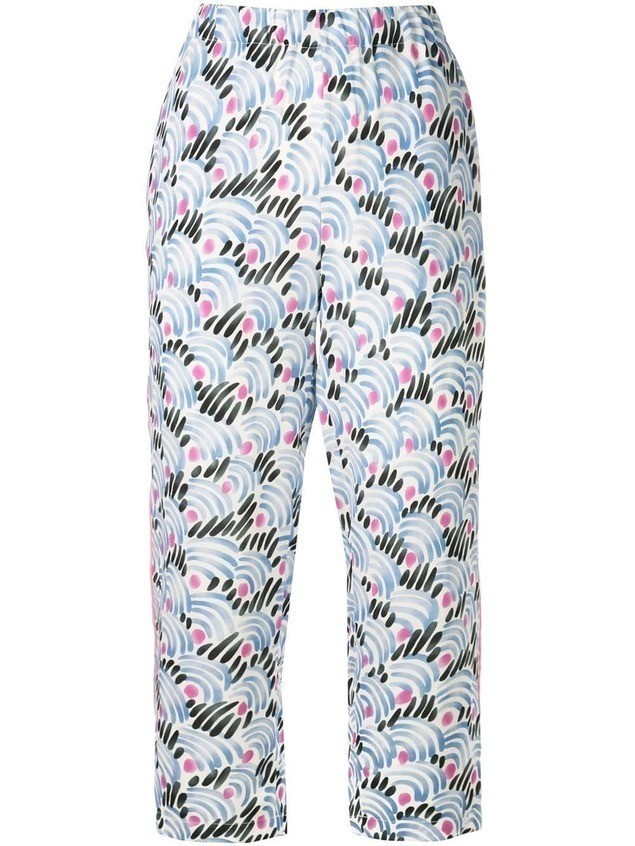 Marni printed cropped trousers - Blue