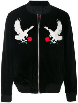 Intoxicated eagle-embroidered bomber jacket - Black