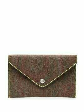 Etro paisley-print envelope clutch - Brown