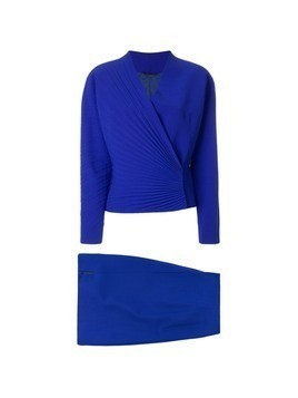 Versace Vintage pleated detail skirt suit - Blue