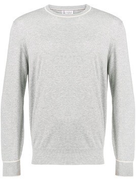 Brunello Cucinelli round neck fine knit sweater - Grey