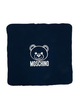 Moschino Kids - bear and logo print blanket - Kinder - Cotton/Spandex/Elastane - One Size - Blue
