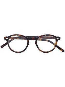 Lesca round tortoiseshell glasses - Brown