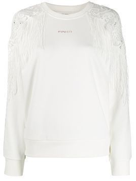 Pinko fringed shoulders sweater - White