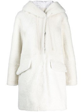 Drome hooded shearling coat - White