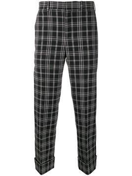 Neil Barrett checked turn-up trousers - Black