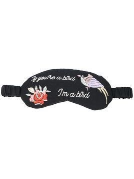 Morgan Lane embroidered eye mask - Black