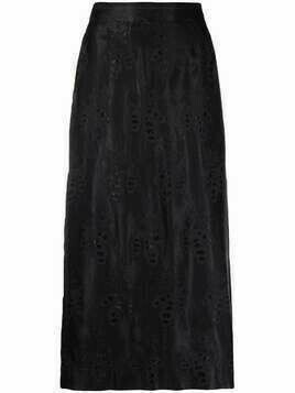 Moschino Pre-Owned 2000s embroidered pattern A-line skirt - Black