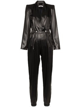 Philosophy Di Lorenzo Serafini V-neck buttoned faux leather jumpsuit - Black