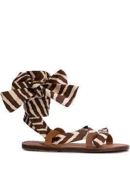 Brother Vellies zebra flat sandals - Brown