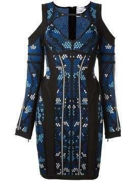 Hervé Léger 'pixel' print cut-off dress - Blue