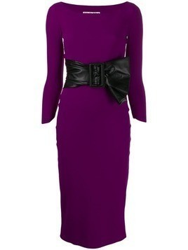 Le Petite Robe Di Chiara Boni bow-tie belt midi dress - Purple
