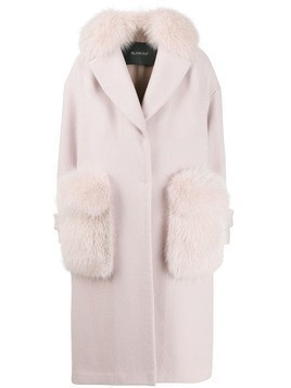 Blancha fur-trim single breasted coat - Pink