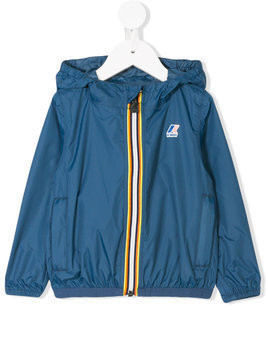 K Way Kids logo printed hooded jacket - Blue