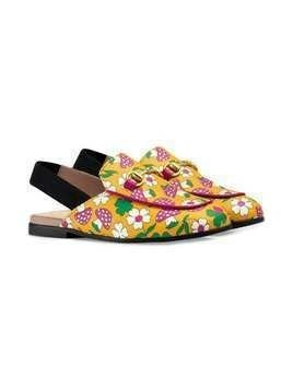 Gucci Kids Toddler Princetown slippers with a mushroom print - Yellow
