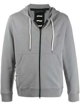 Craig Green lace-up detail zip-up hoodie - Grey