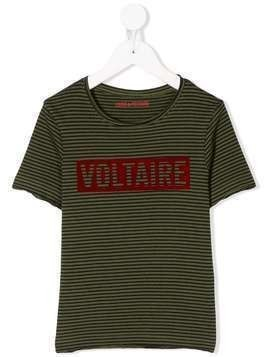 Zadig & Voltaire Kids striped logo print T-shirt - Green