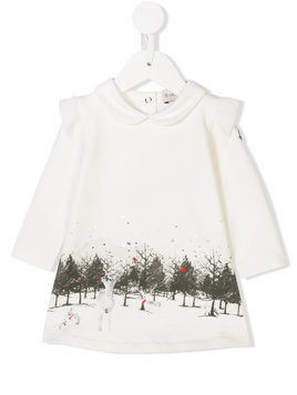 Moncler Kids graphic print long-sleeve dress - White