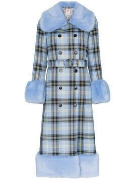 Shrimps River faux fur check print coat - Blue