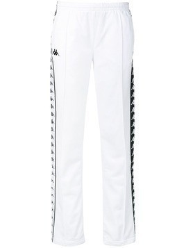 Kappa side logo stripe track pants - White