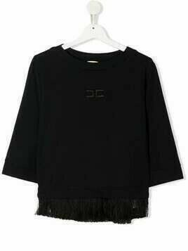 Elisabetta Franchi La Mia Bambina TEEN logo embroidered fringe-trim top - Black