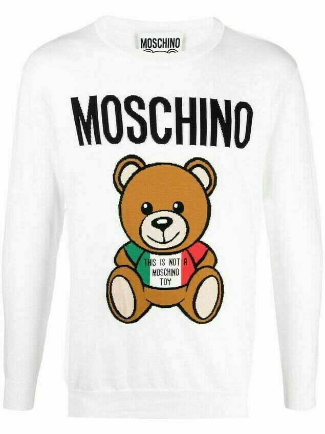 Moschino Teddy logo intarsia-knit jumper - White