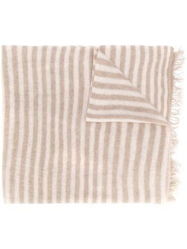 Danielapi fringed striped cashmere scarf - Neutrals
