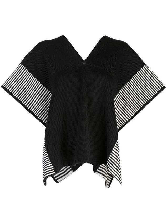 Voz Stripe Edge knit poncho - Black